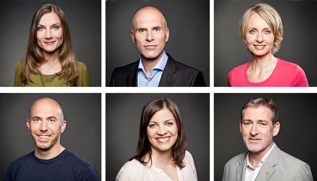 moderne Mitarbeiterfotos vor dunklem Hintergrund