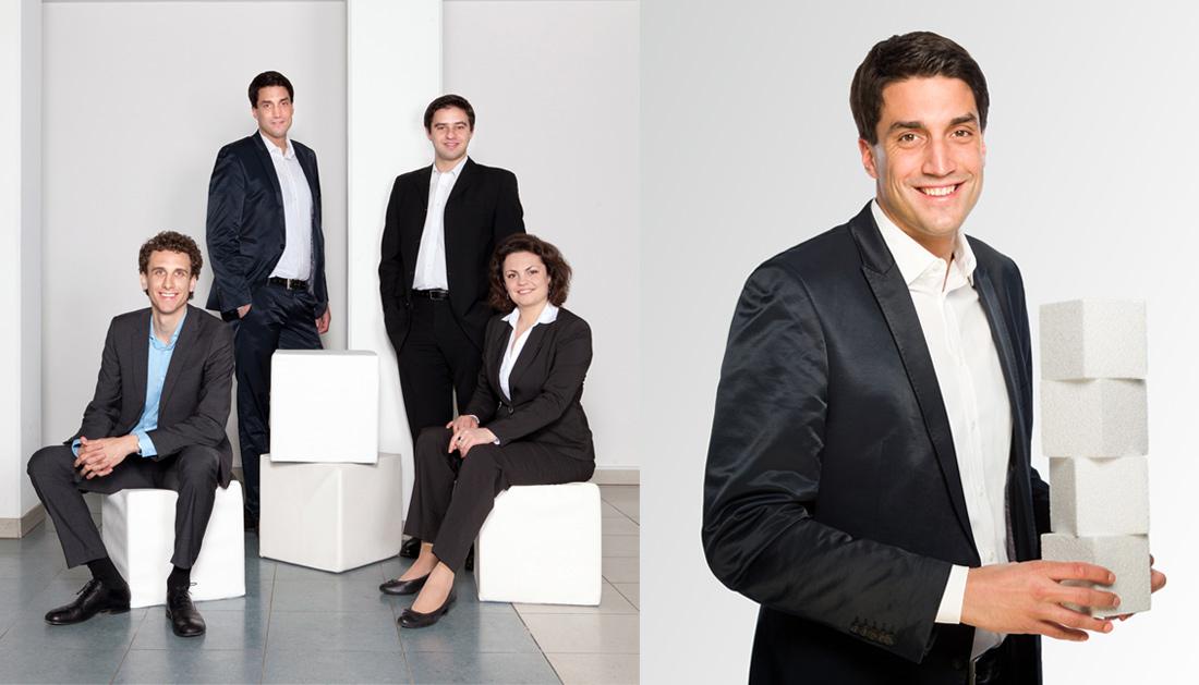 Unternehmensfotografie Teamfoto mit Objekt